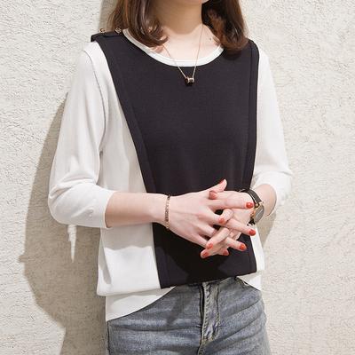 夏季拼色半袖t恤女中袖冰丝薄款五分袖针织打底衫七分袖上衣