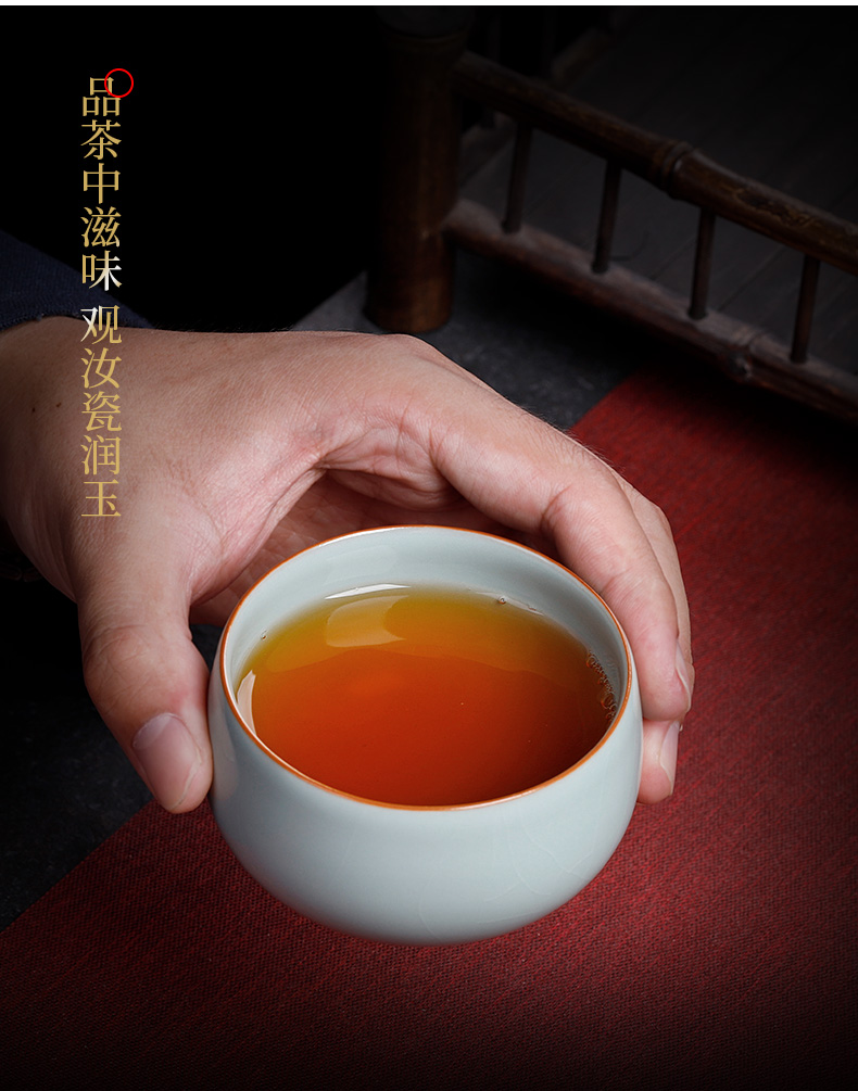 Pure manual open the slice your up cup can keep the ice crack glaze kung fu master cup household porcelain tea set single CPU personal cup