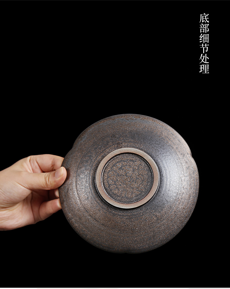 Coarse pottery Japanese anti hot pot of bearing dry terms plate drag the teapot plate heat insulation tray was small mini pot pad tea accessories
