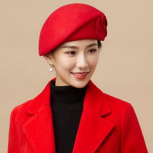 贝雷帽女冬天帽子时尚韩版秋冬季毛呢学生礼帽女英伦潮女孩子帽子