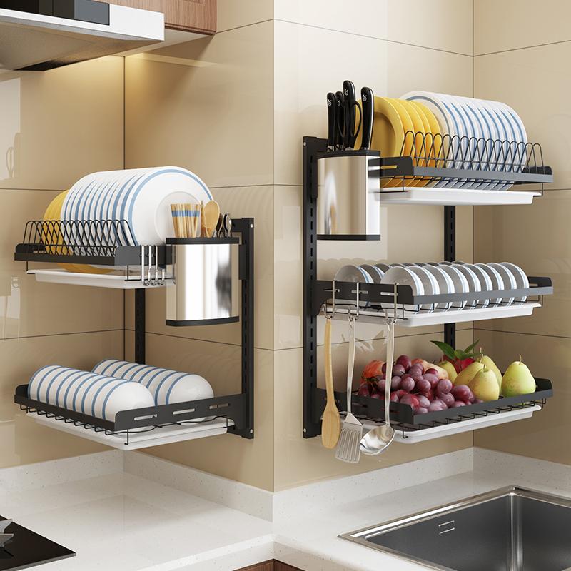 黑色不锈钢碗架沥水架厨房置物架壁挂墙上家用晾碗碟放碗筷收纳架
