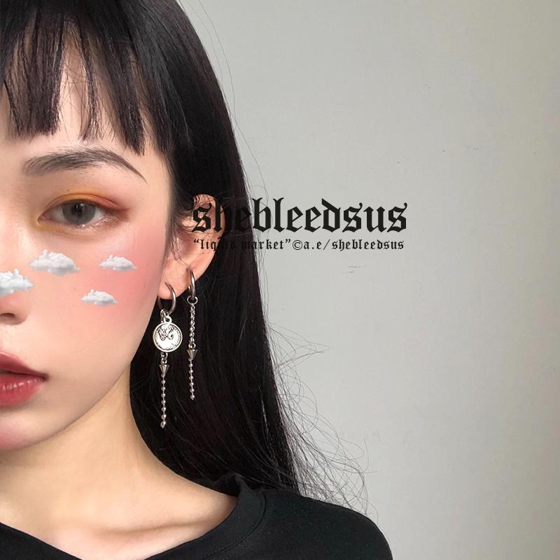 随性-多种珠链吊坠人头戴法三层重叠可拆卸耳夹耳环ES111