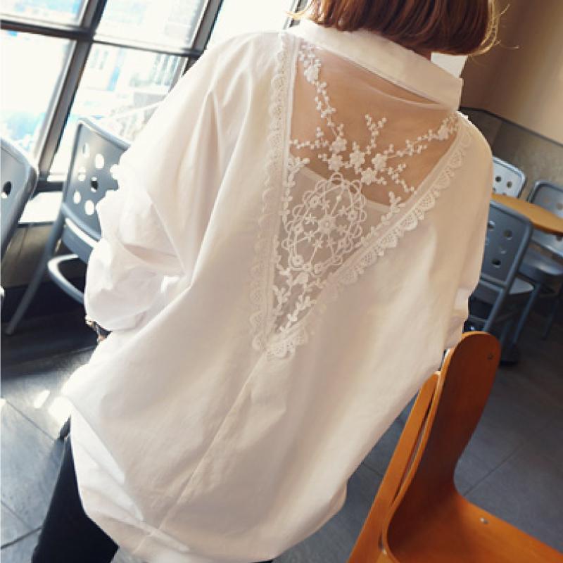雪纺衬衫女长袖2019春装新款韩版小心机漏背上衣中长款宽松白衬衣