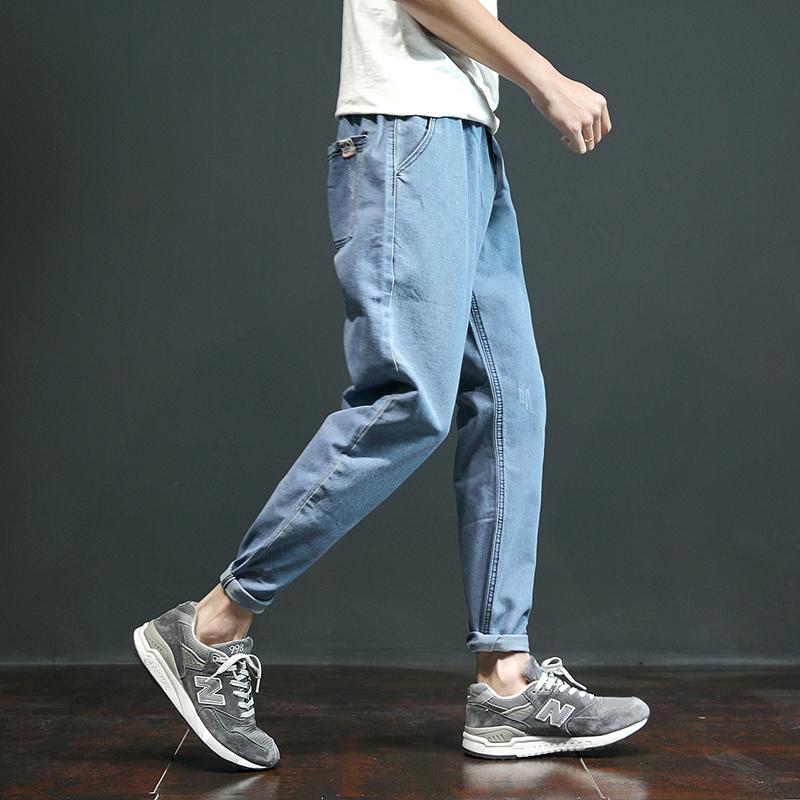 Джинсы мужской приталенный Маленькие ноги корейская версия модные осень рыхлый прямые брюки мужской Харлан для отдыха Брюки девять штанов
