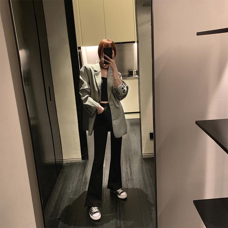 微喇喇叭裤女高腰垂感弹力2019新款秋款学生黑色显瘦阔腿拖地长裤