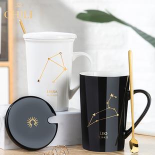 馬克杯帶蓋勺創意陶瓷水杯個性潮流男女情侶款咖啡杯家用喝茶杯子