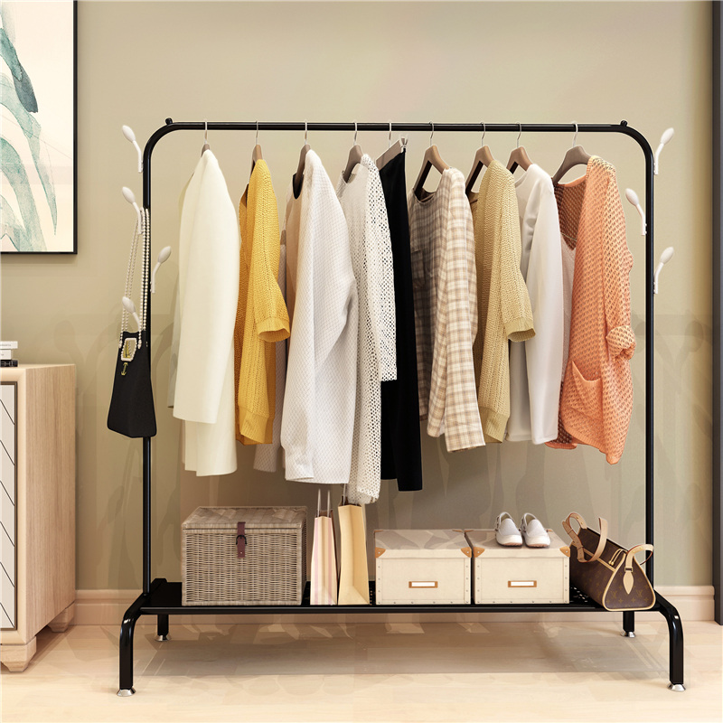 Single Pole Cool Clothes Rack Floor Simple Clothes Rack Home Bedroom Drying  Rack Folding Balcony