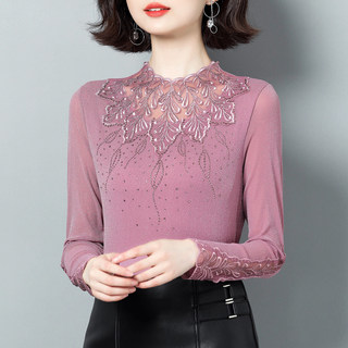 2020 autumn and winter wear new style with plush backing shirt women's wear shows thin foreign style small shirt long sleeve hollow out hot drill top