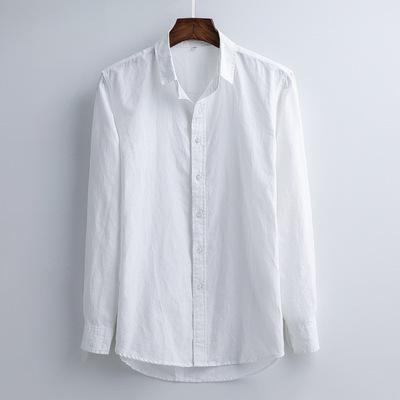 白色长袖亚麻衬衫男士休闲防晒舒适透气柔软棉麻衬衣潮流男上衣