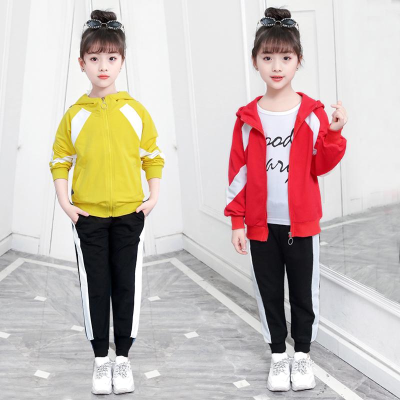 童装女童春秋套装2018新款潮衣儿童韩版洋气时髦中大童时尚两件套