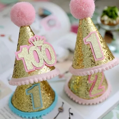 1 Year Old Arranging Digital Hats Men And Women Baby Hundred Days 100 Decorative Little Hat Tiara Birthday