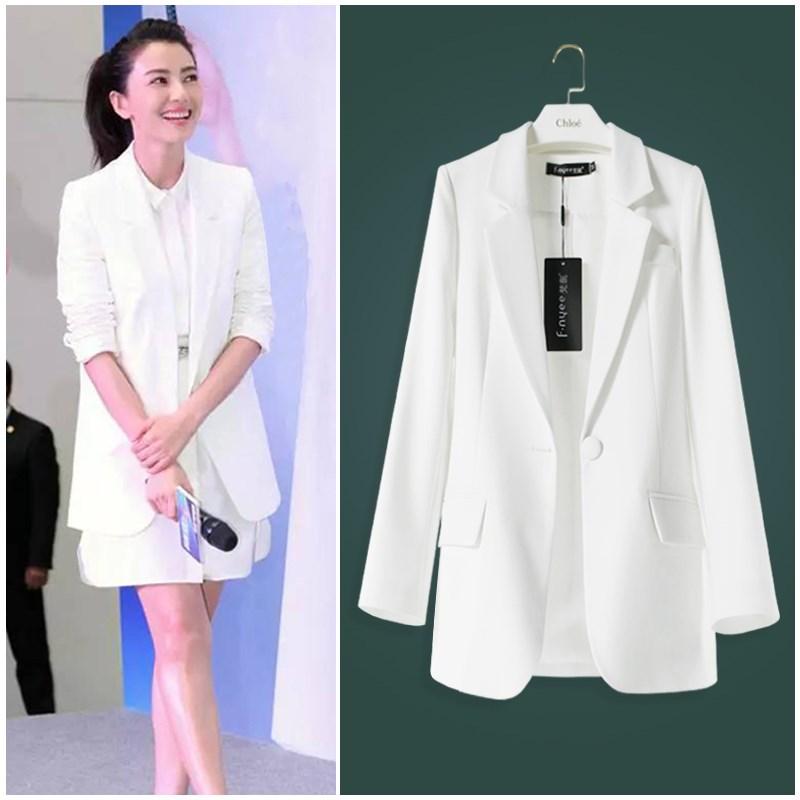 明星小西装女白色高圆圆长袖同款西服OL通勤职业装修身春秋外套