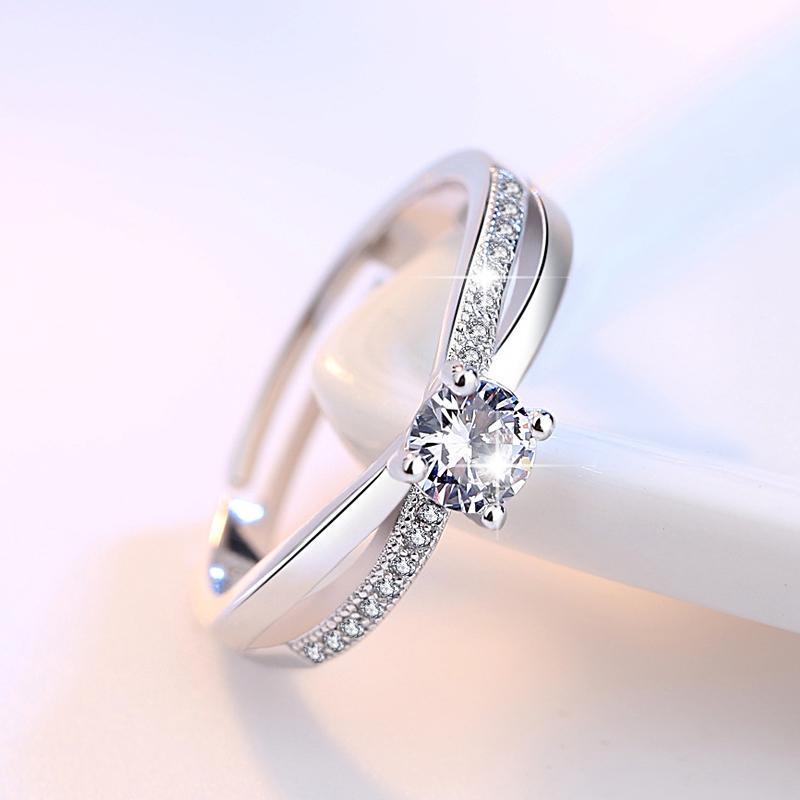 s925银指环女韩版时尚交叉四爪女友活口结婚戒指对戒银饰品送纯银