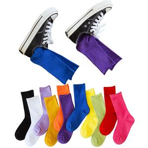 中筒堆堆袜夏季薄款糖果彩色小腿袜