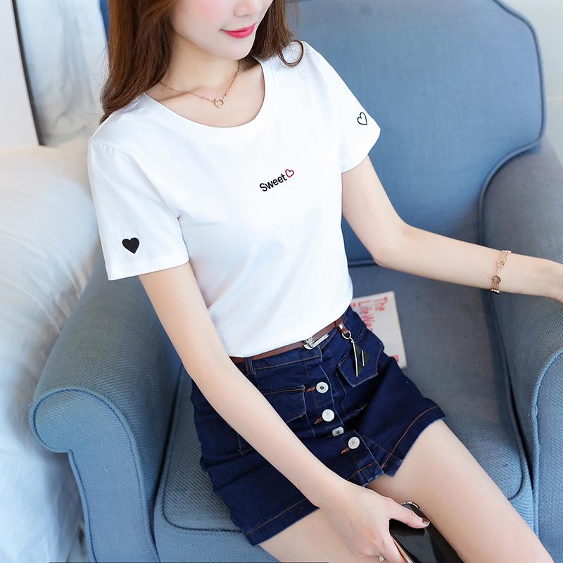 ins刺绣T恤衫女短袖纯棉白色体恤2019夏季新款百搭修身网红上衣潮