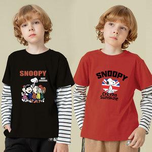 史努比儿童长袖假两件纯棉T恤 主图