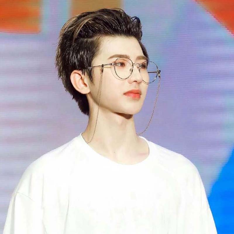 4c3523349182 Cai Xukun with the chain glasses female Korean version of the tide ins  retro round frame