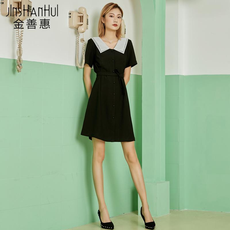 黑色连衣裙女春夏短袖2019新款赫本复古娃娃领短裙显瘦小个子黑裙