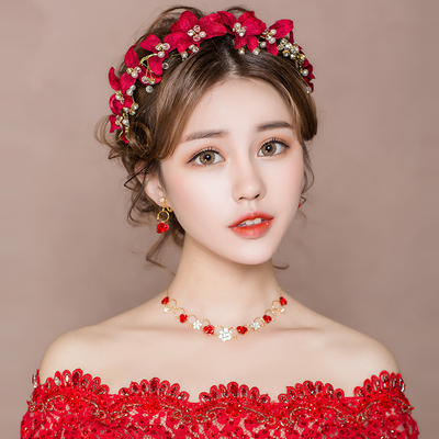 Chinese costume hair accessories  headdress red toast dress  hairband super immortal wedding dress simple accessories