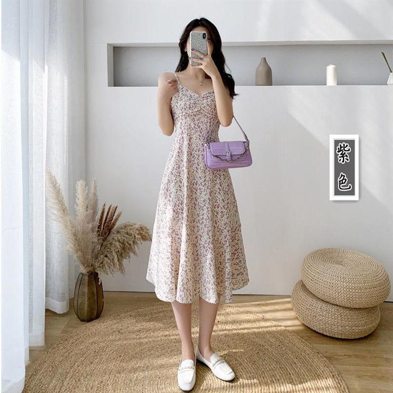 小碎花吊带裙夏气质修身内搭过膝法式雪纺