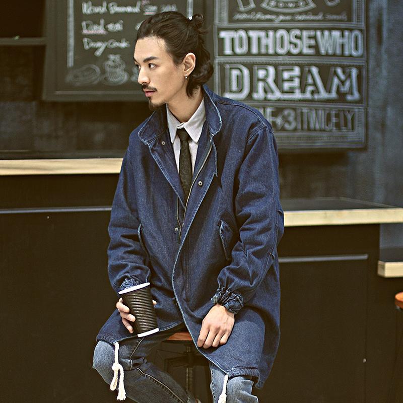 雅痞制噪原创日系风衣中长款外套大衣潮牌立领宽松牛仔港仔风男