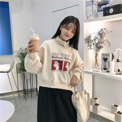 Autumn and winter womens Korean version of Harajuku style loose collar high letter printing and cashmere thickened hedging jacket students tide
