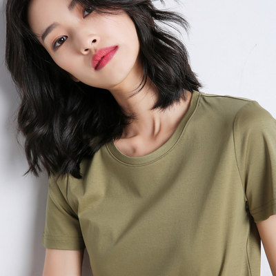 Mu Duolan pure cotton spring summer women's jar clothes InS tide round neck short-sleeved slim bottom T-shirt solid color slim shirt
