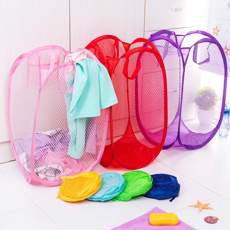 儿童玩具篮叠细网彩网脏衣篮 收纳篮 脏衣蓝 大号居家储物篮子