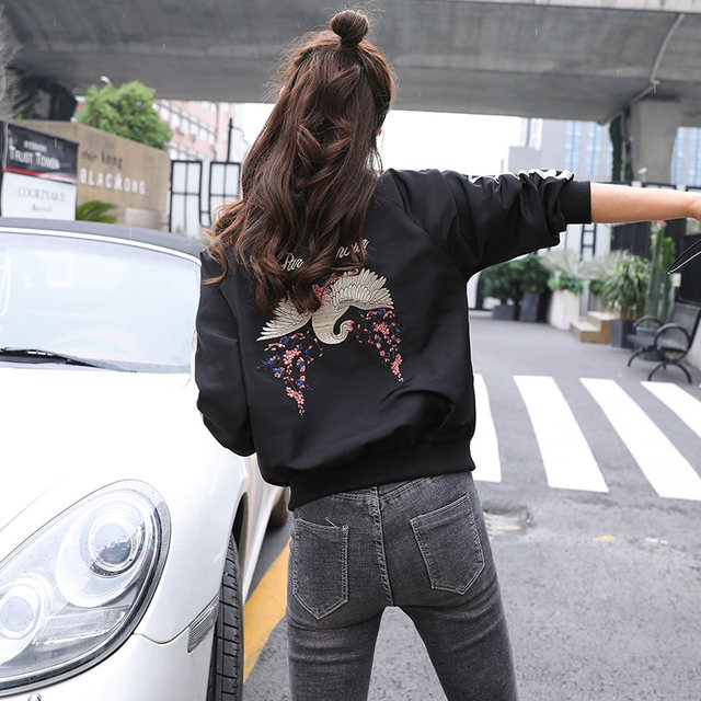 Spring and autumn new Korean shirt fashion embroidered short coat female loose student bf jacket small baseball uniform