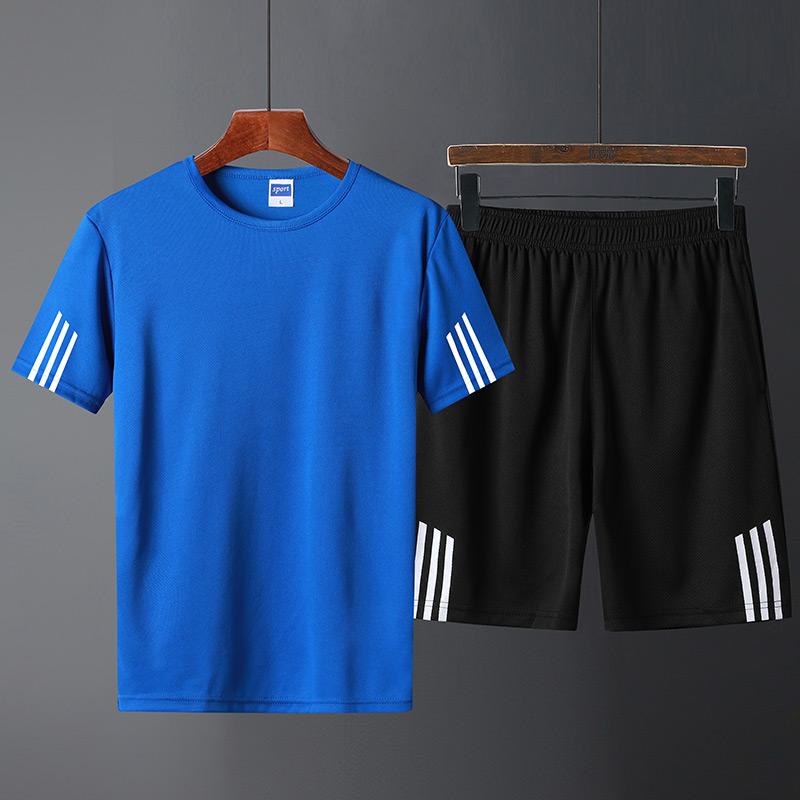 运动套装男短裤短袖t恤潮流夏天宽松休闲两件套夏季速干跑步衣服