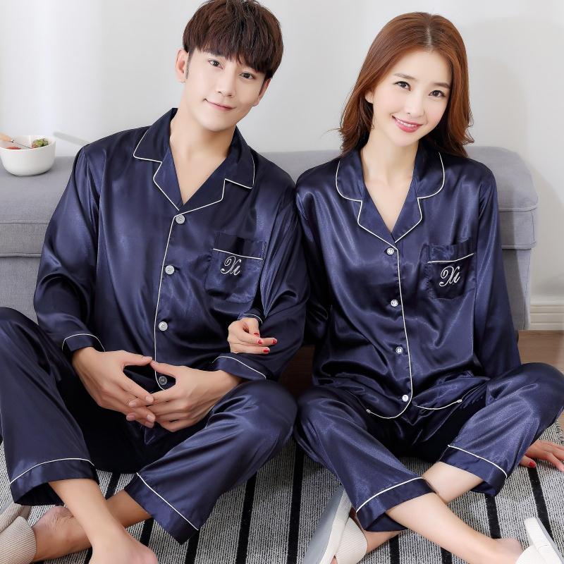 Весна Коу демисезонный сезон длинный рукав шелк для влюбленной пары пижама мужские и женские Ледяной шелк короткий рукав пижама комплект Главная служба летом