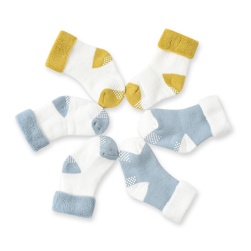 FGB好孩子初冬新生儿婴儿袜子男女宝宝儿童纯棉保暖毛圈袜3入装