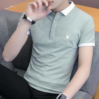 Поло,  Лето тенденция корейский воротник рубашки короткий рукав POLO рубашка 2019 новый ремень воротник T футболки мужчина отворот одежда, цена 442 руб