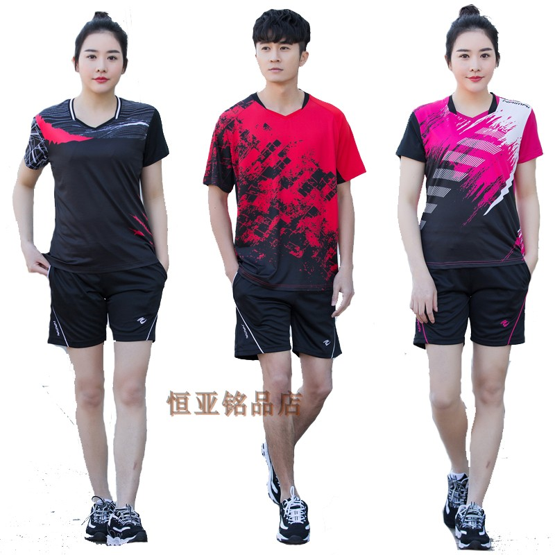 New table Tennis Suit sports set short sleeve male and female couple short sleeve T shirt badminton jersey breathable quick drying