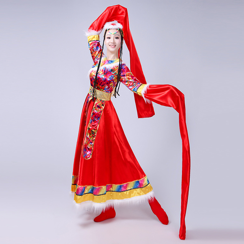 Chinese folk dance dress for women Tibetan water sleeve dance performance costumes female Zhuoma ethnic clothes Tibetan square dance suit for adults