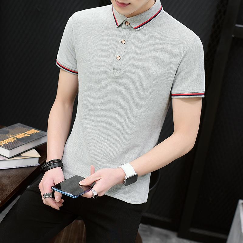 男士短袖t恤夏季上衣服翻领打底衫