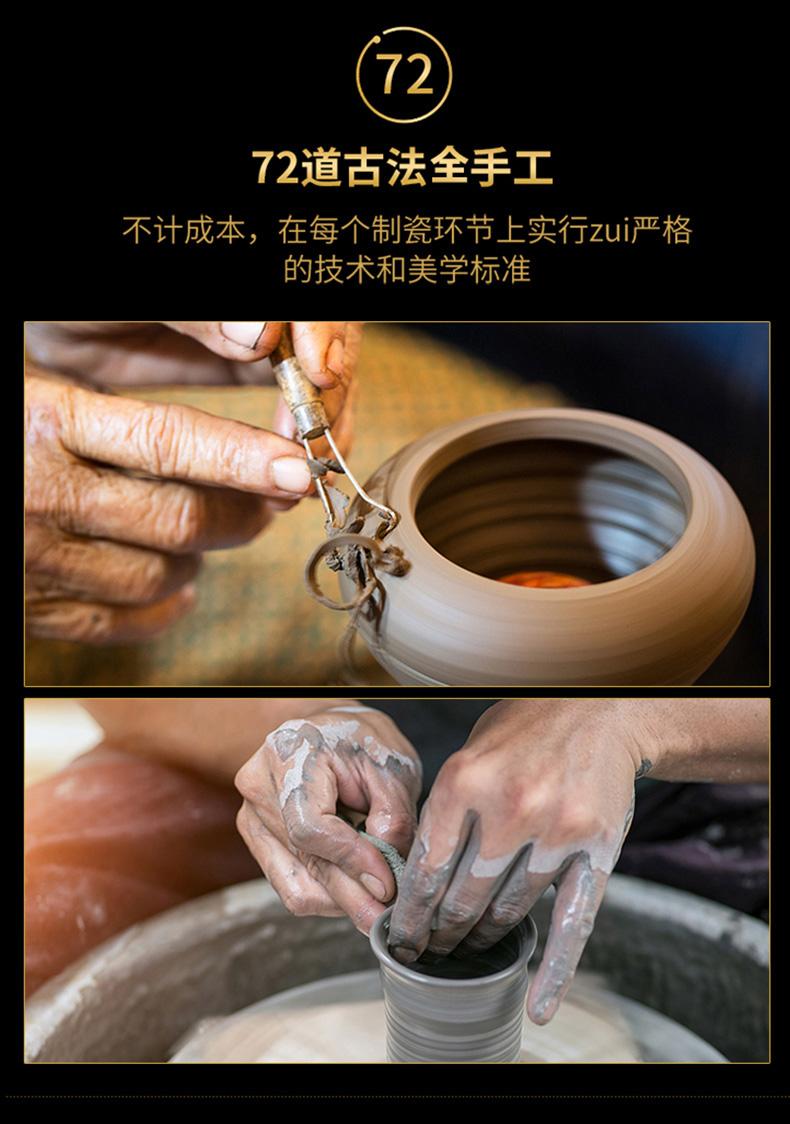 Ning hand - made antique vase seal up with jingdezhen ceramic bottle vase furnishing articles sitting room green space around branch grain design