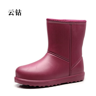 Winter plus velvet rain boots female warm in the tube cotton rain boots adult kitchen slip plus cotton boots waterproof rubber shoes water shoes