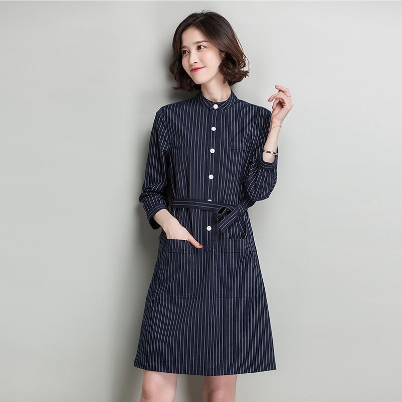2017裙子新款女装气质修身显瘦竖条纹连衣春装中长款职业字