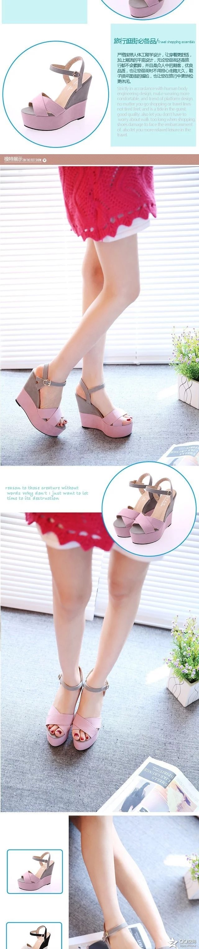 2019 summer new slope with fish mouth sandals female high-heeled belt buckle shallow mouth women's shoes with a fashion shoes 19