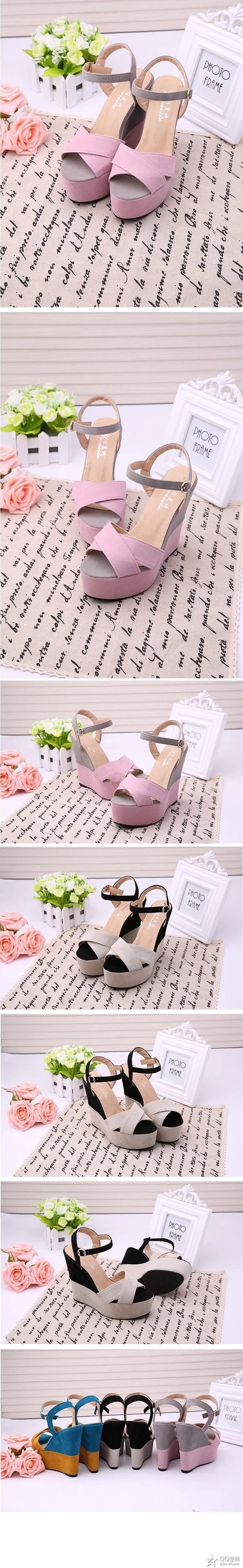 2019 summer new slope with fish mouth sandals female high-heeled belt buckle shallow mouth women's shoes with a fashion shoes 16