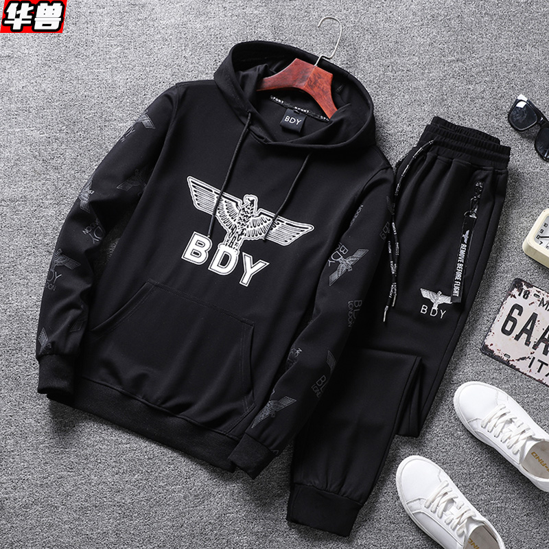 dc2c905fca6 Men s large size sweater men Hooded sports suit fat Tide brand plus  fertilizer to increase the spring and autumn handsome set of clothes