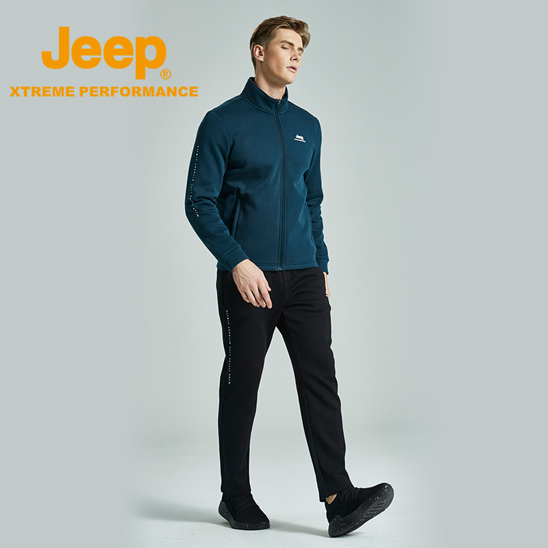 jeep flag 艦 shop official genuine Jeep knitted sportswear suit men's autumn and winter casual collar edire jacket