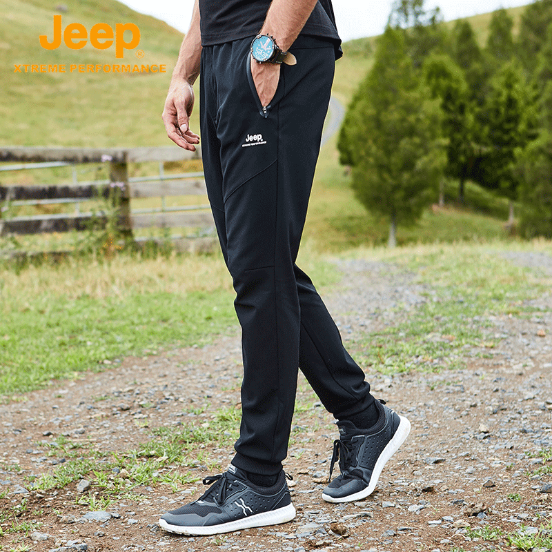 Jeep jeep autumn casual pants men loose outdoor elastic pants sweatpants walking heel pants black.