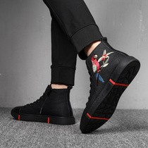 2018 Winter New Black mens Embroidery High shoe Korean edition tide