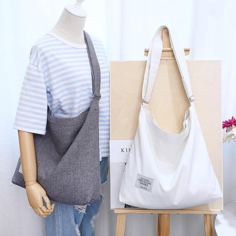 韩国帆布帆布袋潮女简约大容量手提单肩斜跨大学生百搭复古文艺包