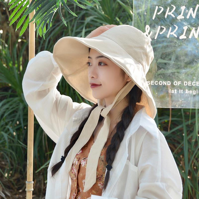 防曬太陽帽女大帽檐漁夫帽女夏季薄款韓版百搭遮臉潮可調節遮陽帽