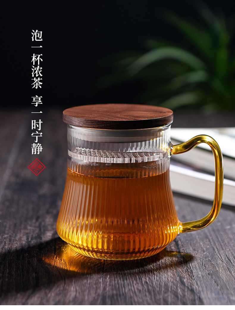 Ceramic tea story separation brew glass tea cup of high capacity thickening filtration crescent cup with cover glass
