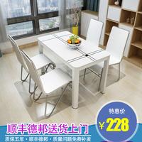 Таблица сейчас поколение Простое закаленное стекло маленькая квартира обеденный стол прямоугольная беседа бытовая краска обеденный стол и комбинация стула