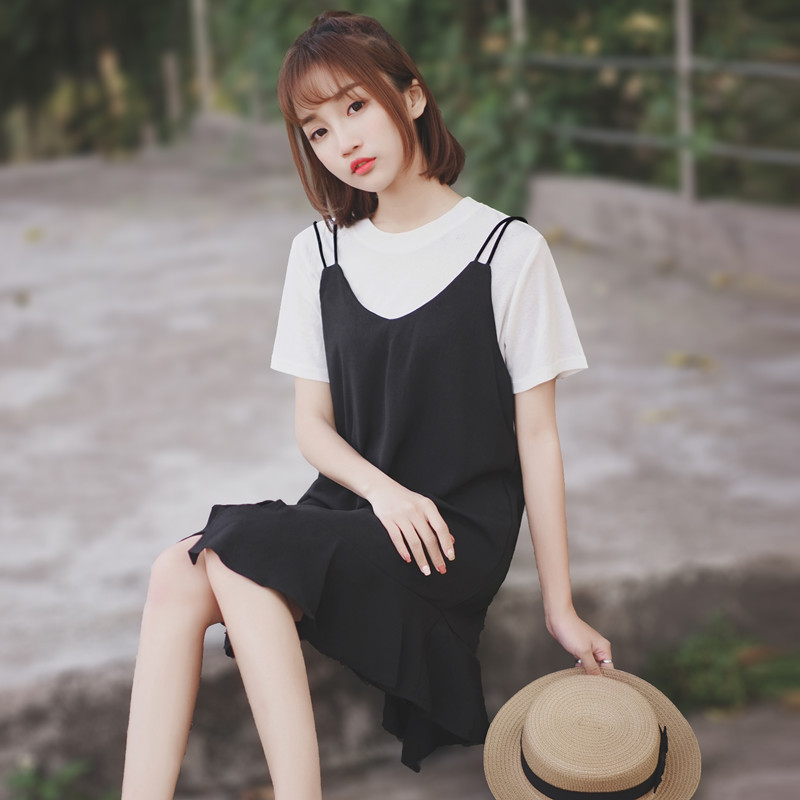 The new women's black suit skirt chic sling skirt for the new 2020 women's dress chic sling skirt two-piece set chiffon casual dress summer